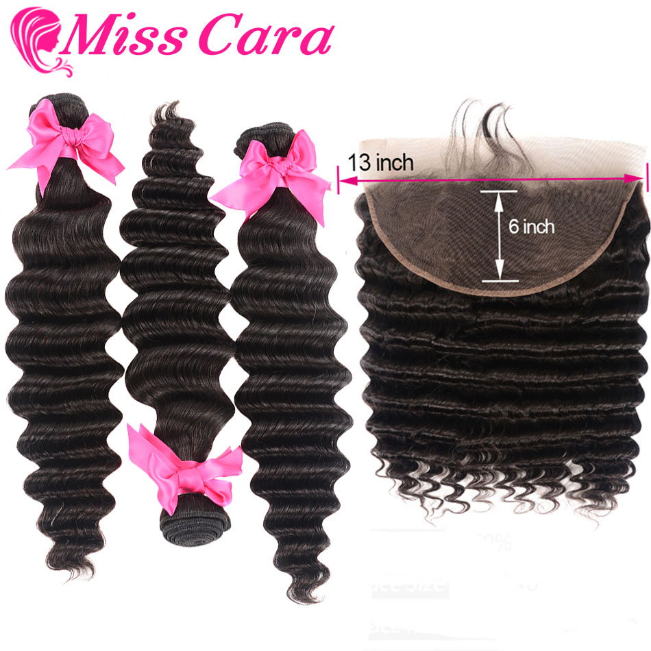 Malaysian Loose Deep Bundles With Frontal Miss Cara 13*6 Frontal With Bundles 100% Remy Human Hair 3/4 Bundles With Fronta