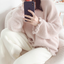New Autumn Sweater 2019 Women Clothing Pure Rabbit Wool Blended Lace Imitating Golden Mink Pullovers Clothes