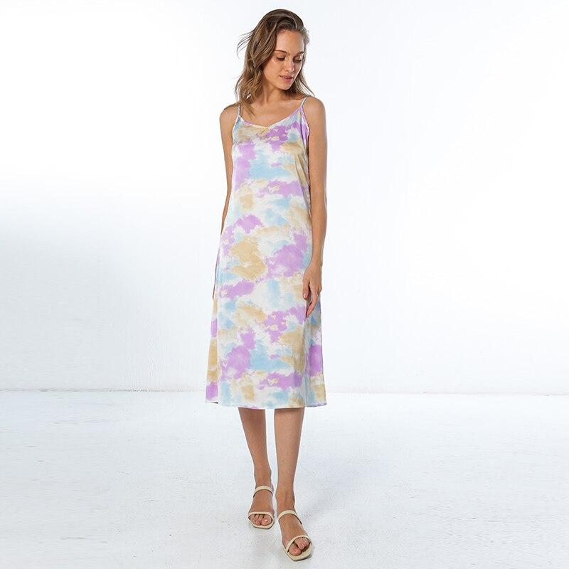 Moda de alta qualidade vestido feminino verão espaguete cetim longo mulher vestido muito suave plus size S-4XL m30262 6