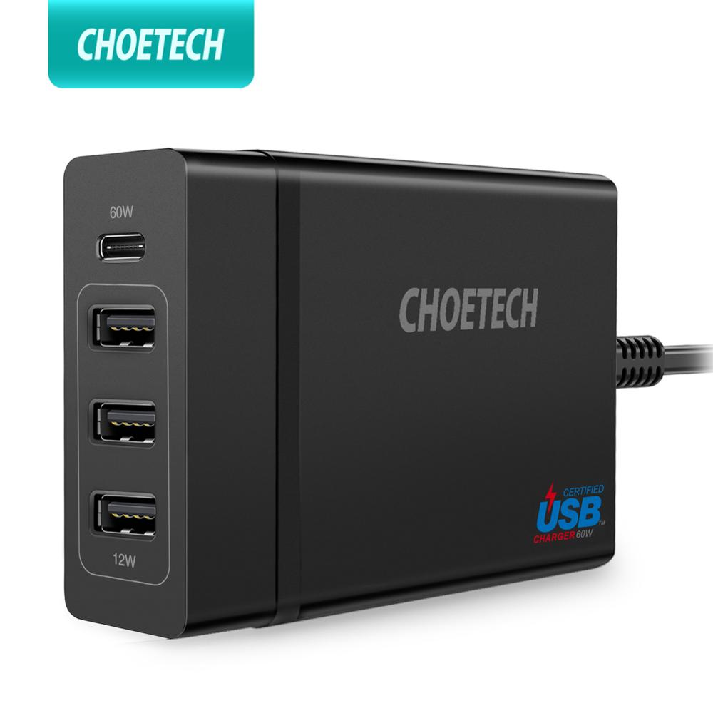 CHOETECH 72W 4 Port USB Type C Desktop Charger Station PD 60w charger For iPhone X 8 Plus MacBook Pro Mobile Phone Charger
