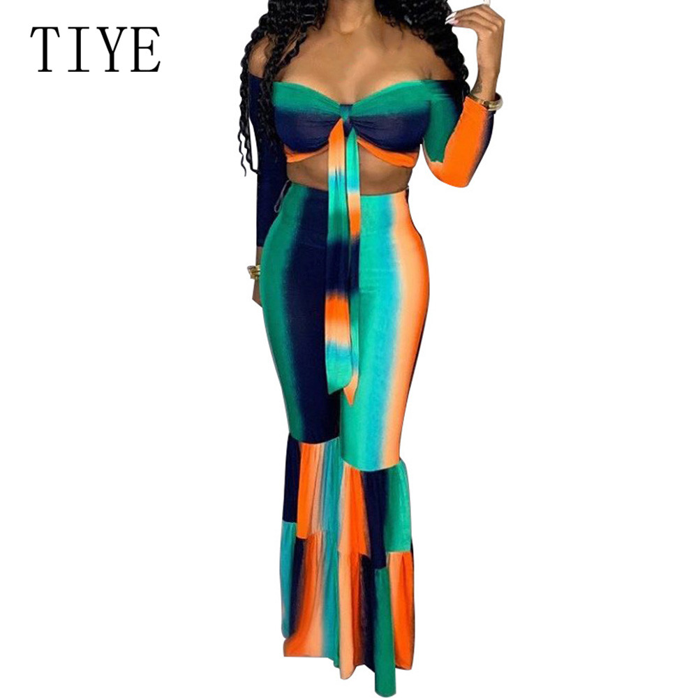 TIYE Vintage Two Pieces Sets Off Shoulder Lace Up Top and Boot Cut Pants Fashion Hollw Out Casual Print Summer Women Jumpsuits in Jumpsuits from Women 39 s Clothing