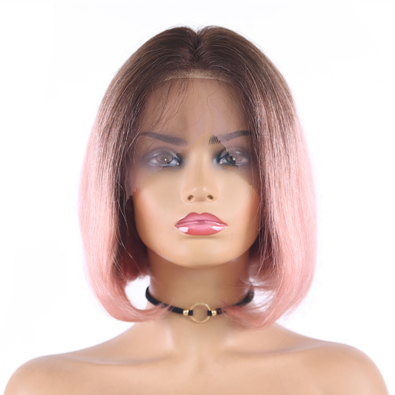 Brazilian Straight 13X4 Lace Front Human Hair Wigs Short Bob Ombre Pink Purple Lace Wigs 150% Remy Human Hair Wig For Women