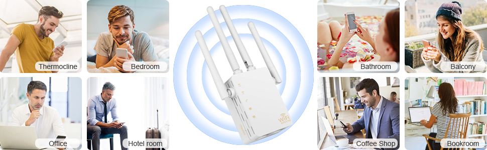 kebidu Wireless Wifi Repeater Router 300/1200Mbps Dual-Band 2.4/5G 4Antenna Wi-Fi Range Extender Wi Fi Routers Home Network