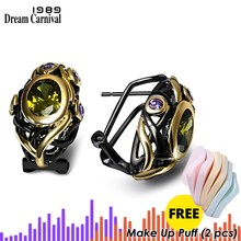 DC1989 Free shipping Evening cocktail Vintage Black Gold-color OIivine Cubic Zirconia Copper Stud earrings for women (E023)(China)