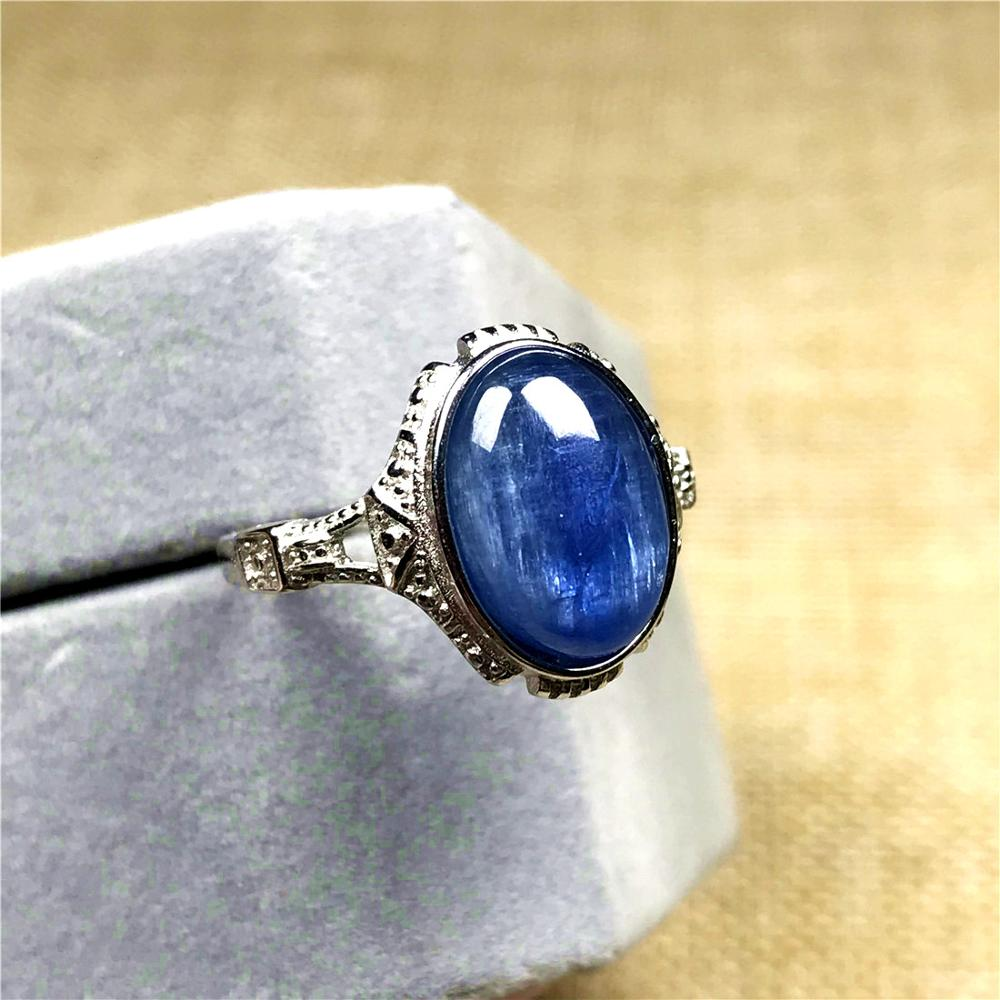 Top Natural Blue Kyanite Ring For Woman Man Crystal 13x11mm Stone Cat Eye Oval Beads Love Gift Adjustable Ring Jewelry AAAAA