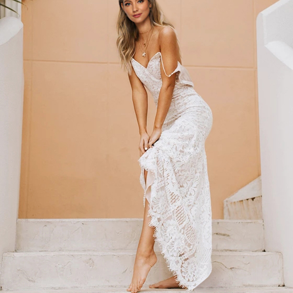 Lovely Bohemian Long Wedding Dress 2020 Sexy BOHO Wedding Gowns V-neck Straps Lace Backless Chic Beach Bride Dresses Party