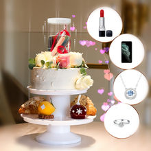 Pop-up Surprise Cake Stand Birthday Tray Plate Put in Sweets Candy Necklace Ring Gift Box Double 2 Layer Cake Holder for Wedding(China)