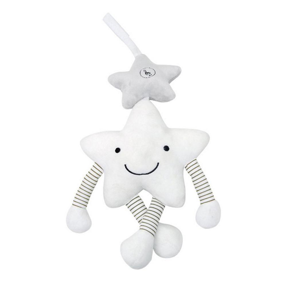 Soft Star Baby Crib Plush Toy Appease Comfortable Soft Star Smiley Face Bedside Music Bell Newborn Infant Baby Hanging Toy