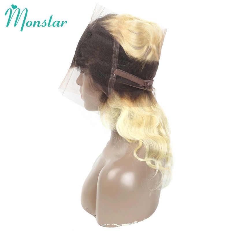 360 frontal do laço com pacotes, pacotes da onda do corpo com fechamento 1b 613 ombre remy extensão do cabelo feixes de cabelo humano com fechamento