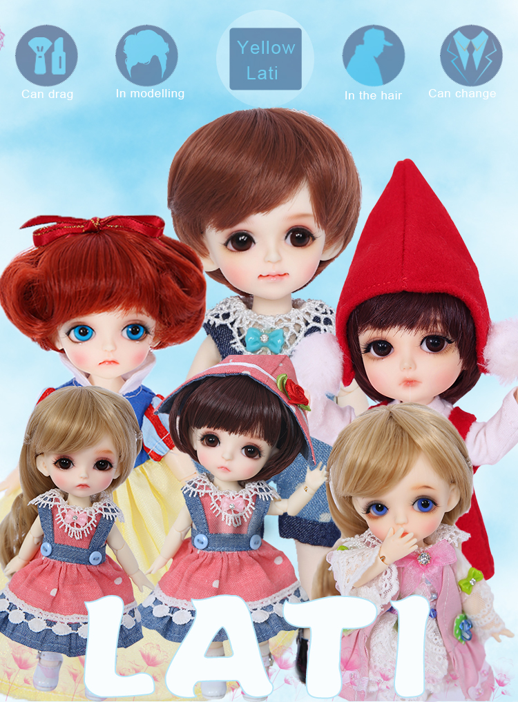 1//8 BJD Doll SD Doll Lati Yellow Happy Free Face Make UP+Free Eyes