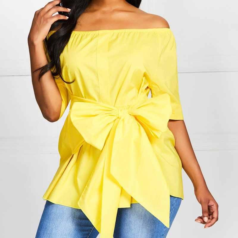 المرأة عارضة أنيقة الأصفر مكتب سيدة بلوزة الإناث القوس الدانتيل زائد حجم فضفاضة قصيرة الأكمام واحد كلمة طوق أعلى السيدات الملابس