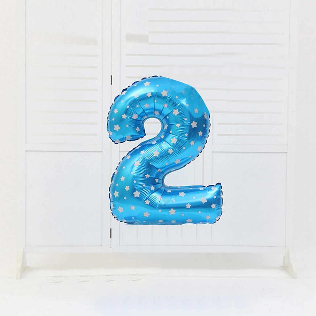 32 cal numer balon foliowy różowe złoto srebro niebieski różowy cyfrowy balony Globos dekoracja urodzinowa dla dzieci przybory dla niemowląt