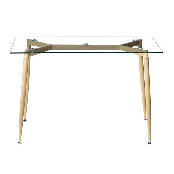 Simple Wood Grain Table Leg & Transparent Tempered Glass Dinner Table Minimalist Coffee Table Side Furniture Living Room Table 4