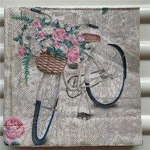 20 servilletas vintage de papel con impresión de flores rosas mariposa bicicleta decoupage servilletas decoraciones de mesa para fiestas y bodas pañuelo