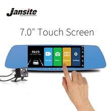Jansite cámara de vídeo para coche, lente Dual de 7 pulgadas, DVR con pantalla táctil para coche, espejo retrovisor, cámara de salpicadero, grabadora portátil