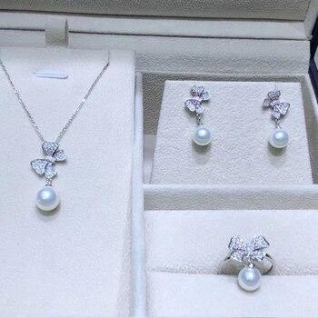 Forma de mariposa 925 pendientes de anillo colgante de plata conjunto de hallazgos de montaje conjunto de joyería bonito accesorios de piezas para perlas
