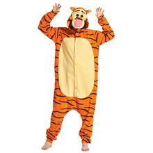 Tiger Kigurumi Animal Pajama Adult Polar Fleece Jumpsuit Anime Funny Outfit Men Women Winter Suit Halloween Festival Overalls