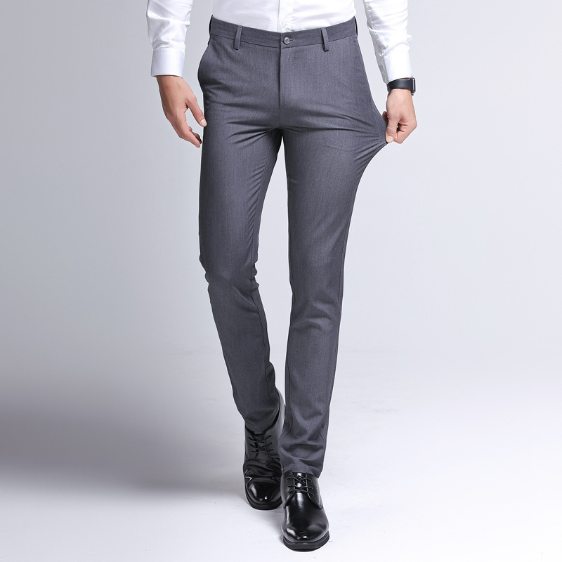 2019 Autumn And Winter New Style Men's Business Casual Pants Men Thick Elasticity Youth Suit Pants Straight-Leg Trousers