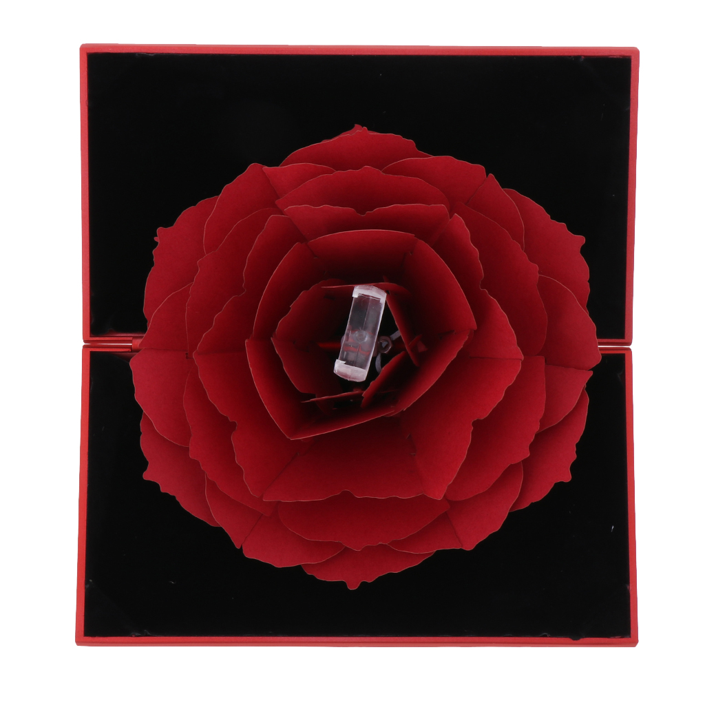 Foldable Pop Up Blooming Flower Holding Ring Box Ring Storage Case,Making Surprise for Your Girlfriend Wife Fiancee