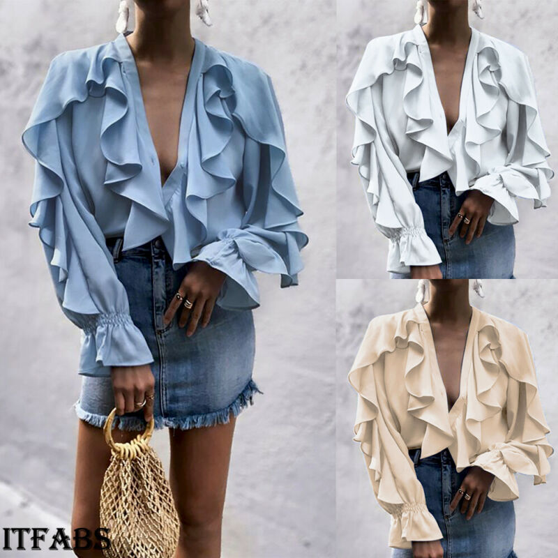 Women Blouses Sexy Shirt Clothing Ruffle Bell Sleeve Ladies Shirts Sexy Tops Womens Clothing Summer Female Blouses Office Hot