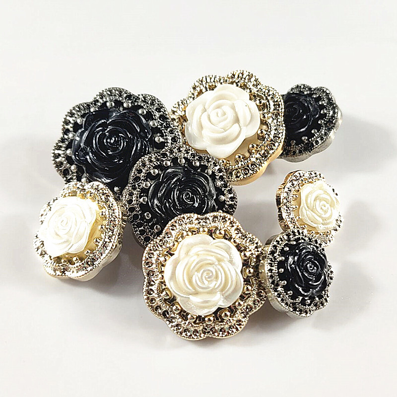 10pcs/lot White/black Rose Buttons Plastic Shank For Garment Clothing Accessories Fit Sewing Scrapbooking Garment Diy Decoration Superior (In) Quality