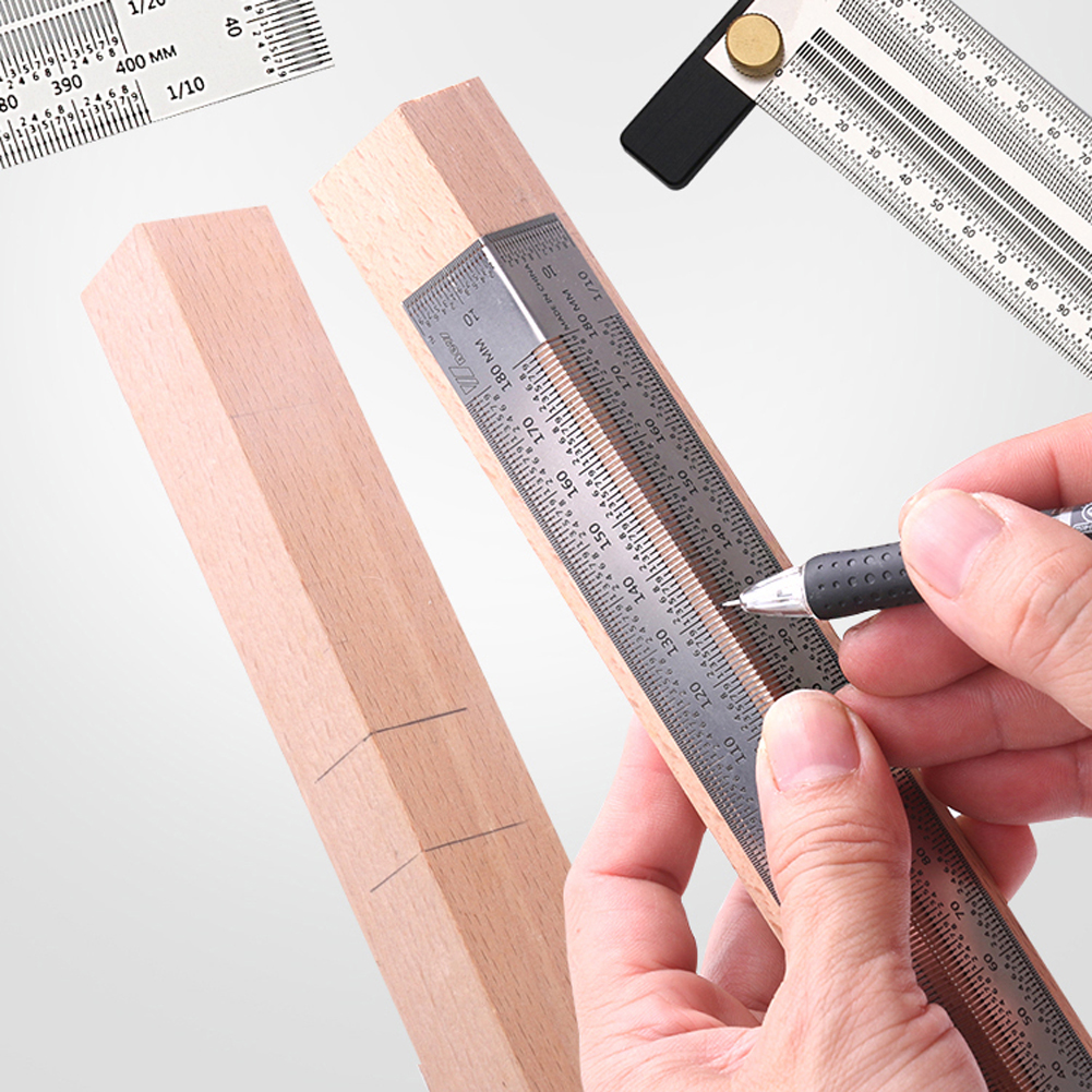 180/200/300/400mm Stainless Steel Scale Ruler T-type Hole Ruler Woodworking Scribing Mark Line Gauge Carpenter Measuring Tool