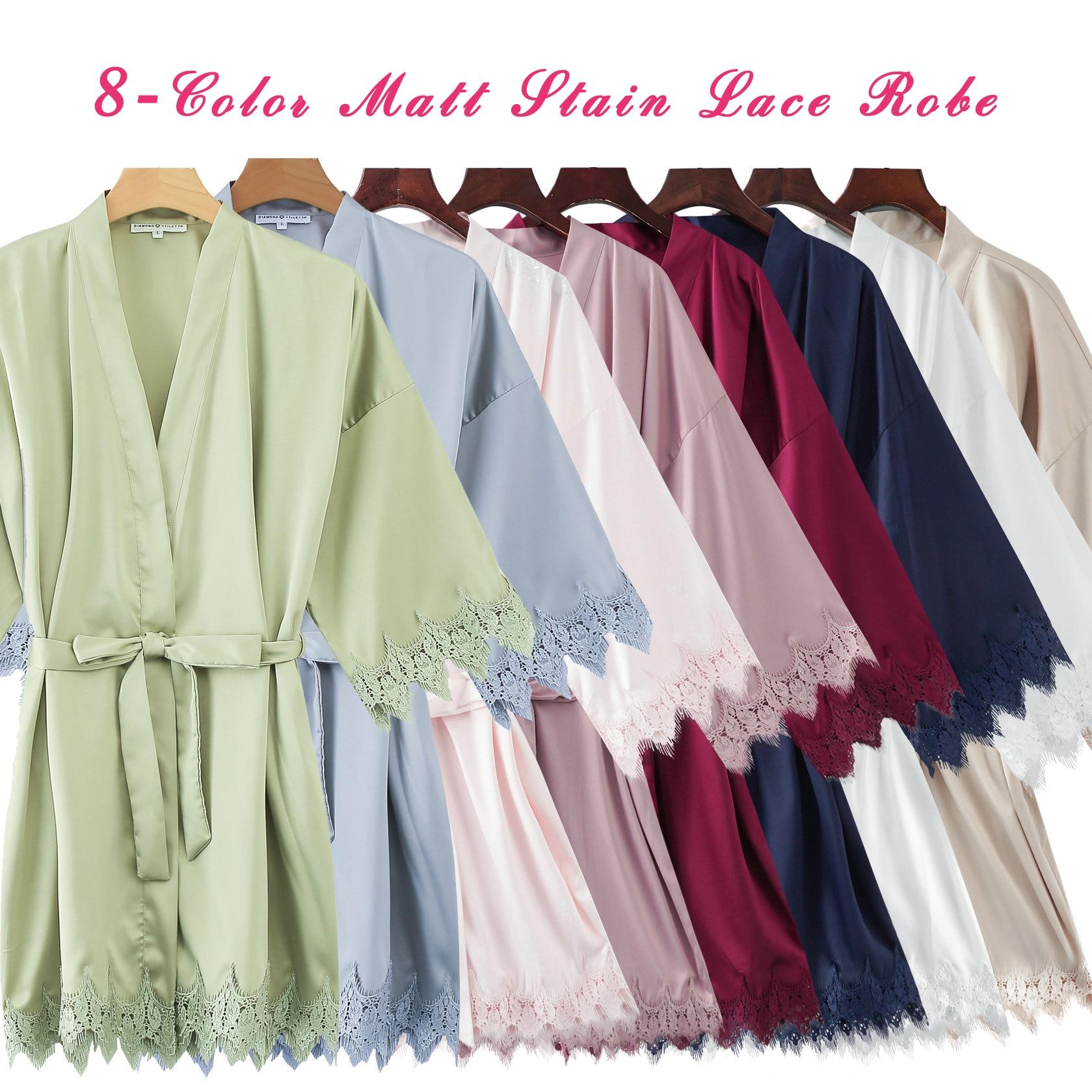 Image 4 - 2019 Matt Satin Lace Robe with Trim Gown Bridal Wedding Bride Robes Bridesmaid Kimono Robe Plus Size Women Bathrobe Dress Gown-in Robes from Underwear & Sleepwears