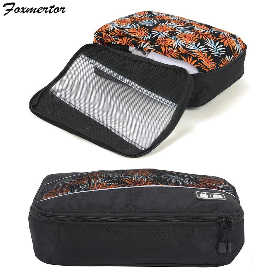 Foxmertor Fashion Travel Duffle Bag Packing Cube Mesh Packing organizers Breathable Nylon Men Women Travel Luggage Organizer Set