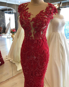 Image 4 - Real Image Luxury Beaded Lace Mermaid Prom Dresses With Detachable Train  Vintage Long Prom Gowns Modest Formal Dresses