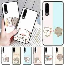 Pêssego gato dos desenhos animados bling bonito caso de telefone para huawei p9 10 20 30 40 p inteligente 20lite 2019 p30 lite pro p9 lite 2017