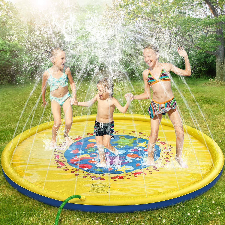 Splash Pad Burst Sprinkle Splash Play Mat Sprinkler For Kids Boys Girls Fun Splash Play Mat Summer Outdoor Sprinkler Pad Party