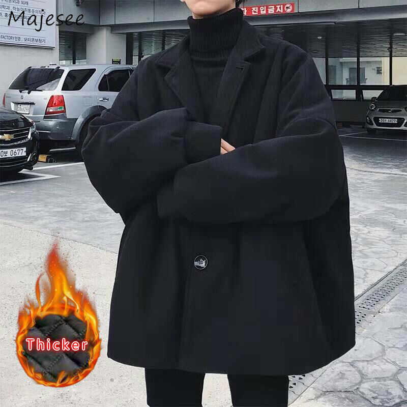 Jacket Men Plus Size Black Coat Loose Mens Jackets and Coats Japanese Streetwear Thickening Winter Clothes High-end Stylish Soft