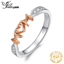 цены JPalace MOM Family Love Rose Gold Ring 925 Sterling Silver Rings for Women Stackable Ring Band Silver 925 Jewelry Fine Jewelry