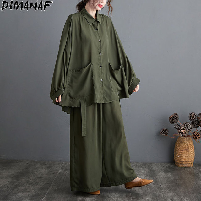 Two Piece Set Casual  Shirts Pockets Loose Long Pants Oversized  5