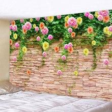 Настенный гобелен с цветами на каменной стене настенный большого