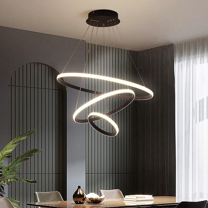 Pendentif Led moderne cercle noir pour salon salle à manger cuisine barre avec télécommande luminaire intérieur lustre lampe