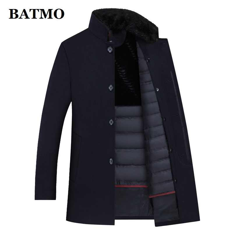 BATMO 100% wool trench coat men,men's 90% white duck down wool jackets ,thicked wool coat men,plus-size M-XXXL