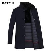 BATMO wool trench coat men,men's 90% white duck down wool jackets ,thicked wool coat men,plus size M XXXL 8866