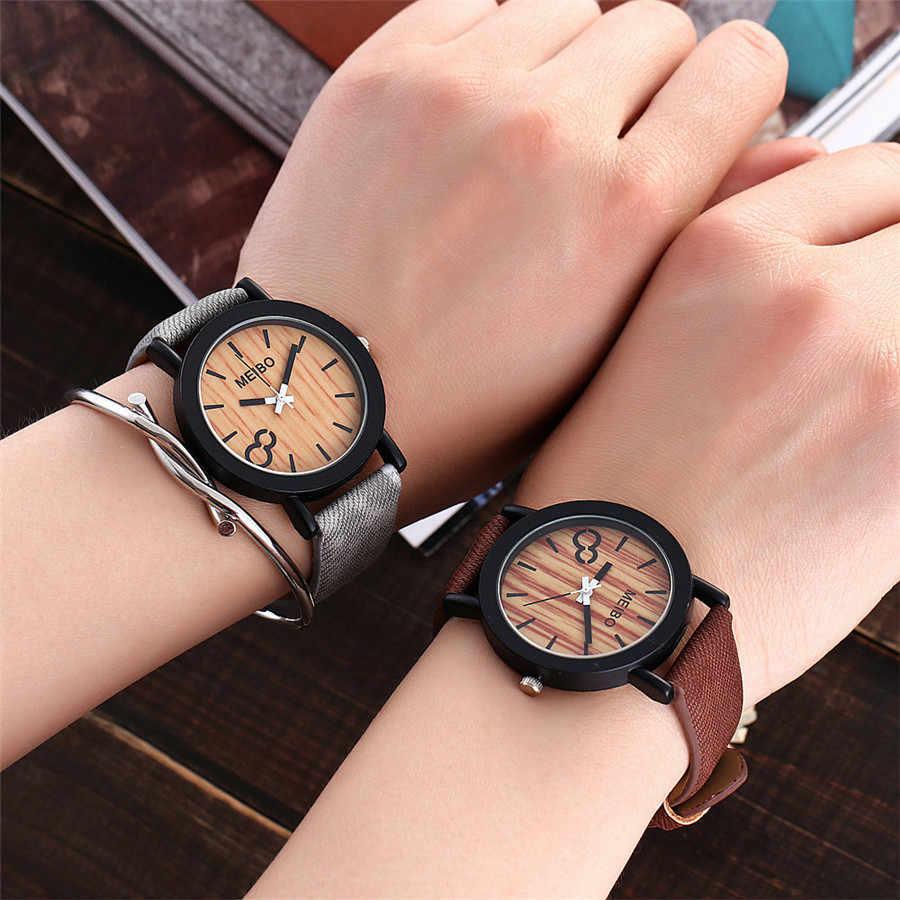 Relógio para mulher elegante modelagem de madeira quartzo relógio masculino casual cor de madeira relógio de couro zegarek damski czarny 2020 novo