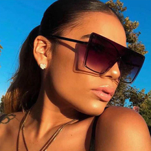 Luxury Oversized Flat top Sunglasses Women Gradient Lens Ita