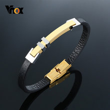 Vnox повседневные тонкие 4 мм кожаные браслеты для мужчин и