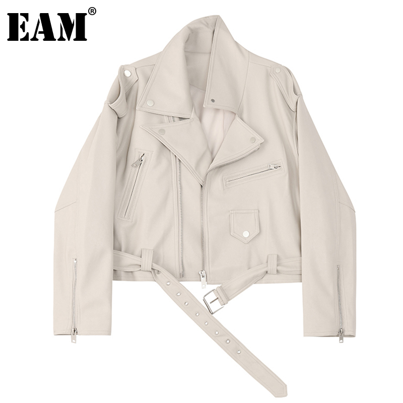 [EAM] Loose Fit Beige Pu Leather Big Size Jacket New Lapel Long Sleeve Women Coat Fashion Tide Spring Autumn 2020 1DB025 1