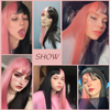 Pink and Black Wig Long Straight hair Cosplay Wig Two Tone Ombre Color Women Synthetic Hair Wigs 5