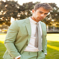 New Coat Pant Designs Green Men Suit Formal Slim Fit Summer Beach Wedding Custom Party Mens Suits Tuxedo 2 Piece (Jacket+Pants )