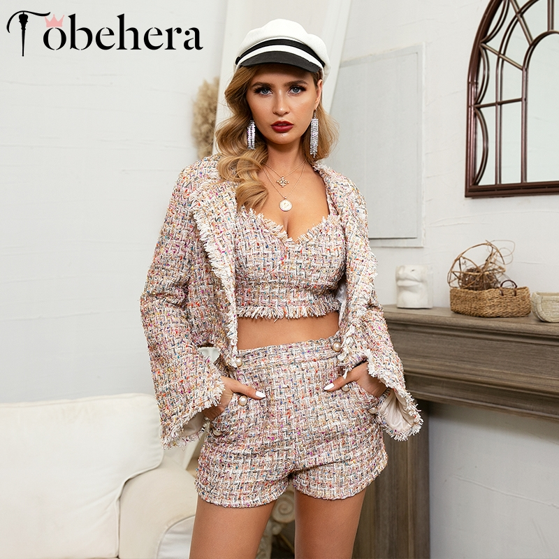 Glamaker Winter Coat Women Blazer Tweed Three-piece Suit Sexy Outwear Jacket Coat Short Plaid Autumn Office Ladies Streetwear