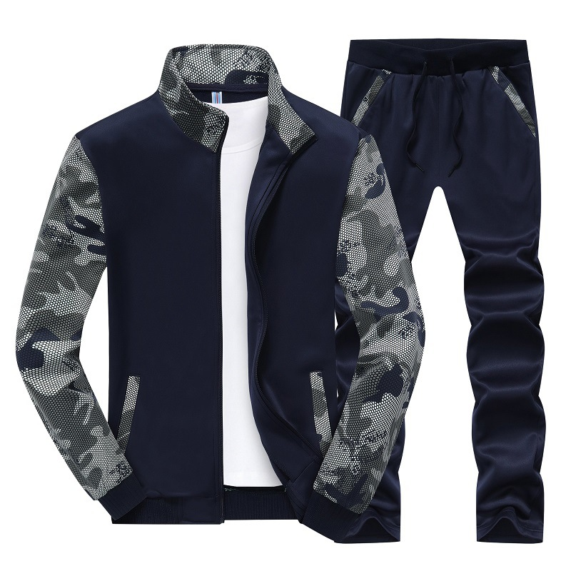 Autumn And Winter Sports Set Men's Baseball Uniform Men Slim Fit Cardigan Long-sleeved Sweater Korean-style Set Men'S Wear