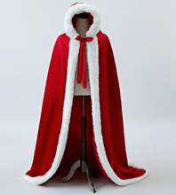 Faux Fur Trim Winter Bridal Cloaks Wedding Cape Stunning Hooded Long Red Satin Party Wraps Jacket Women Accessories(China)