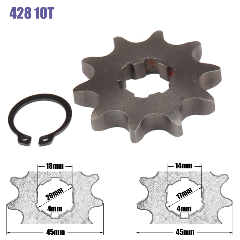 428 Chain 10T 17mm 20mm Front Engine Sprocket For 50cc to <font><b>125cc</b></font> Dirt Bike ATV Go Kart Quad <font><b>Pitbike</b></font> Buggy Motorcycle image