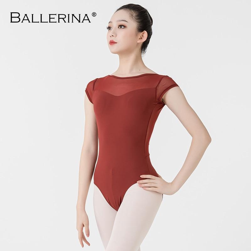 Ballerina Ballet Leotard Women Professional Training Yoga Mesh Short Sleeve Gymnastics Leotard Dance Costume Adulto 3580