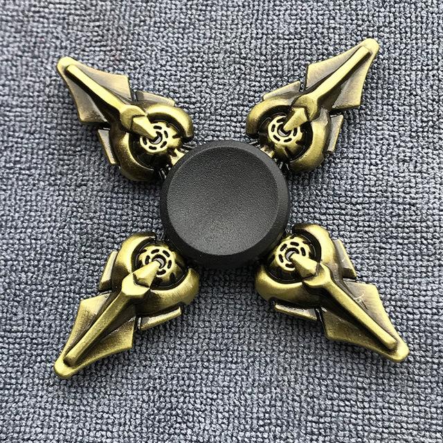 Fidget Spinner Brass Color Zinc Alloy Metal Hand Spinner Dice Bauhinia Rudder Exterior Smooth Finger Tri Spiner Gyro Toy For Kids
